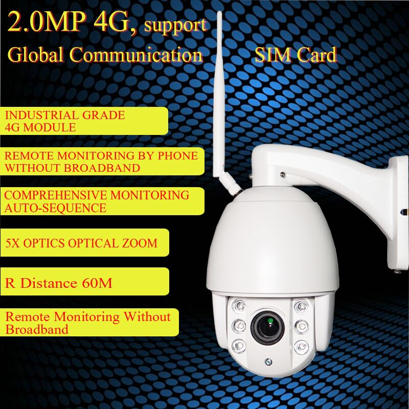 4G Mobile Speed Dome 1080P IP Camera with Dual Video Stream via 4G FDD LTE Network Free APP & 4X Optical Zoom & Waterproof IP66 8x zoom optical mobile phone telescope camera white