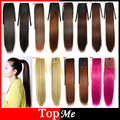 Woman Ponytails Synthetic Hair Extensions 30 Colors 55cm Long Natural Straight Lady Ponytail Clips In Ribbon Female Hairpiece