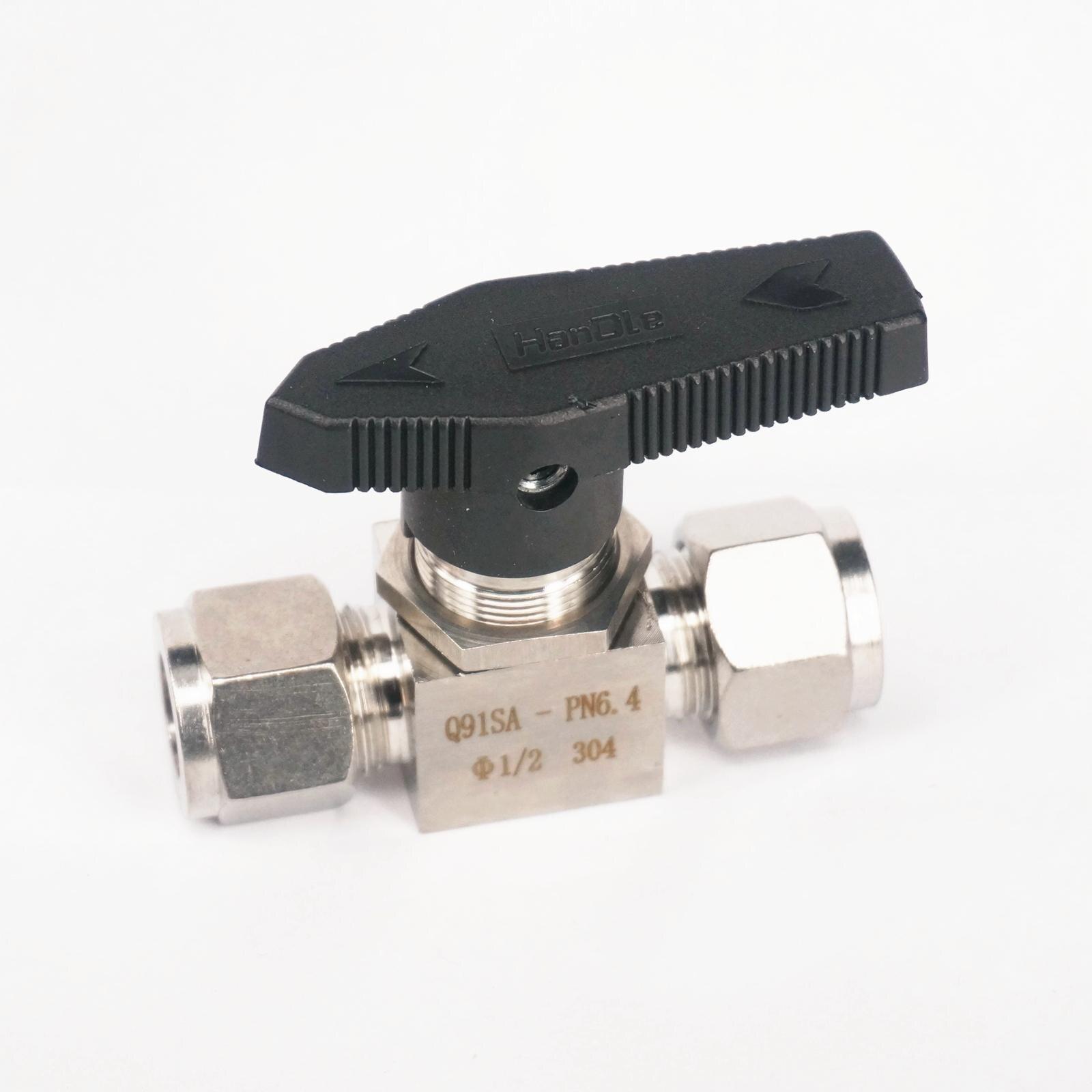 """304 нержавеющая сталь Компрессионный фитинг запорный шаровой клапан 915 PSI Q91SA PN 6,4 подходит для 1/2 """"дюймов O/D трубки"""