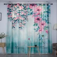 2pcs A Set Nordic Ins Digital Printed Flower 3d Curtains For Bedroom Window Decoration Modern Pattern Window Curtain Room