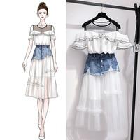 2019 Summer two piece set Women Ruffles off shoulder shirt + mesh Denim Skirt 2 piece skirt set 2 piece outfits for women
