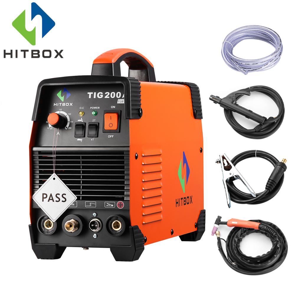 HITBOX Tig Soudeur TIG200A Monophasé 220 V Deux Fonctions ARC MMA TIG Machine De Soudage Avec Accessoires