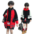 Elegant color matching winter clothes Wool Blends princess winter coats outwear children woolen jackets coat for teenage girls