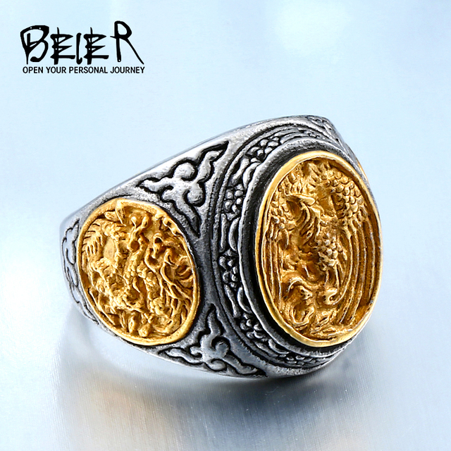 BEIER New arrive alibaba-express stainless steel gold colour fashion phoenix rin