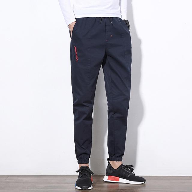 Alta Qualidade 100% Algodão Calças Dos Homens Nova Moda Chegada Dos Homens da Tendência Calças Harém Carta Bordados Casual Sweatpants Homens Plus Size