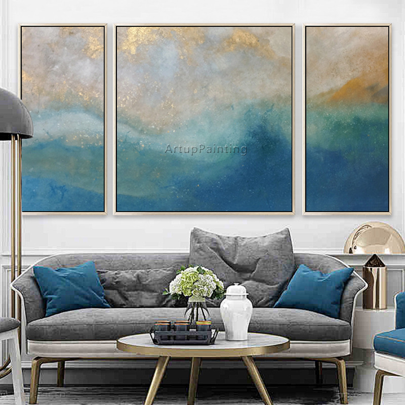 3 pieces abstract blue gold seascape painting on Canvas ...