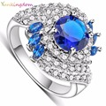 Yunkingdom Women's Rings White Gold Plated Fill Inlay Blue Zircon Crystal Jewelry Charms Ring Female Gifts ALP0281