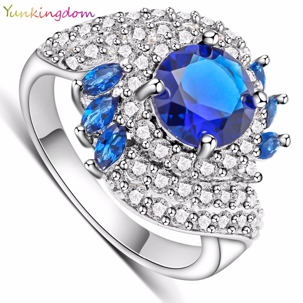 Yunkingdom Womens Ring Party Queen Inlay Blue Zircon