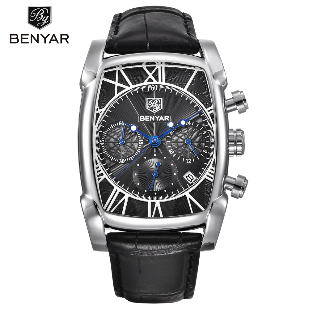 BENYAR Men's Watches Strap Chronograph Classic Rectangle Waterproof Genuine-Leather Fashion