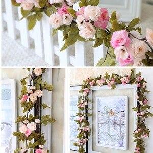 Image 4 - 230 cm/91in משי רוז חתונת קישוטי קיסוס גפן פרחים מלאכותיים קשת דקור עם ירוק עלים תליית קיר זר a0332