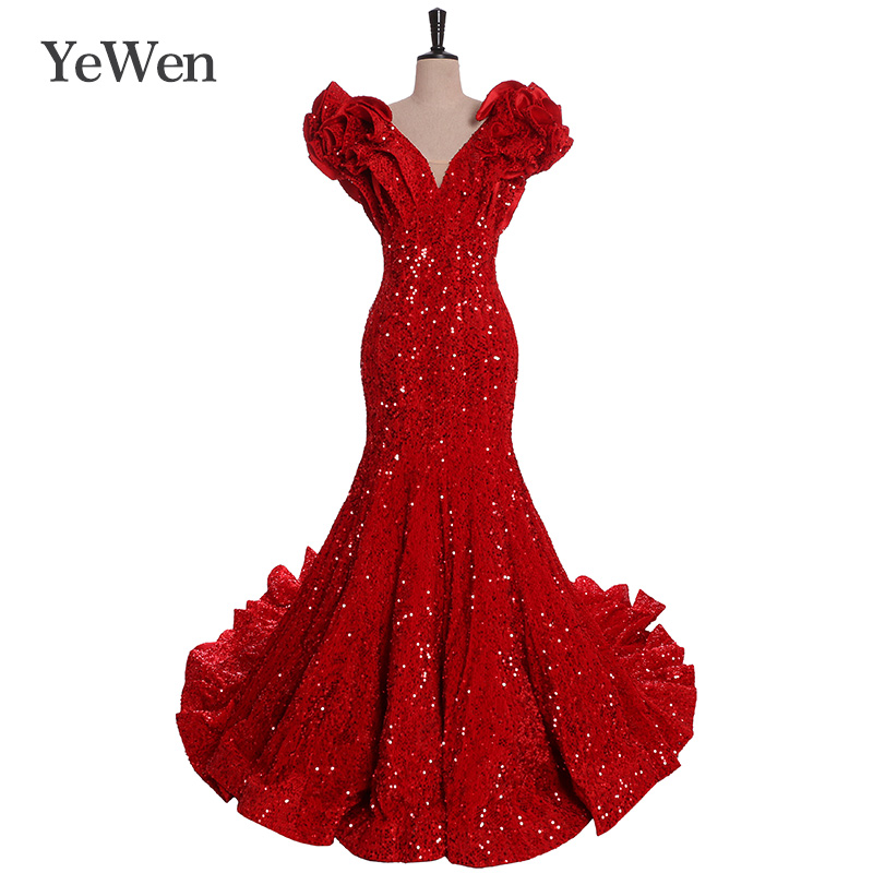 Sequined Mermaid   Evening     Dress   2019 Long Sexy Sleeveless V Neck Formal Celebrity Lace   Evening   Gown   Dresses   Robe Longue Deep Red