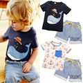 2016 Children Baby Kids Boys 2pcs Clothes Cute Animal Anchor Short Sleeve Tops T-shirt Striped Pants Outfits Clothes Sets Brand