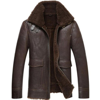 Mens Sheepskin Fur Coat Lamb Fur Leather Jacket Menfolk Men's Shearling Coat Flight Jacket Aviator Fur Coat TJ26