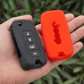 Silicone rubber key FOB Case Cover Cap Set sleeve skin for Jeep Renegade hard steel 2016 flip folding remote protect accessories