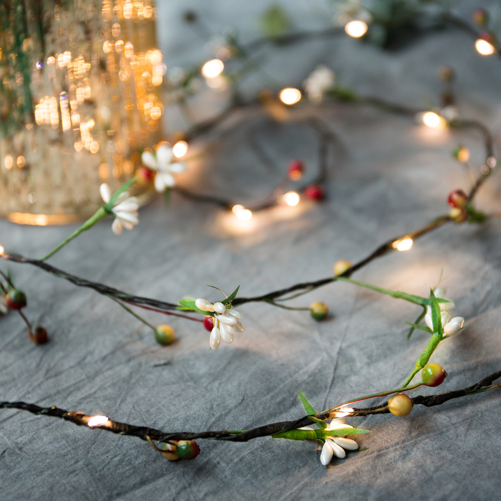 2M 20 LEDs flower leaf garland Starry Light battery Copper LED fairy string lights for christmas wedding party event decoration novelty cherry blossom 2m 20 led flower string light fairy lights led lamp with aa battery wedding party garland tree decoration