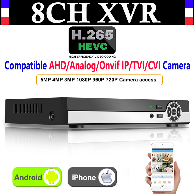 Upgrade 8CH 5MP H.265 Super CCTV XVR AHD NVR DVR Digital Video Recorder for AHD CVI TVI Analog IP Surveillance Security Camera