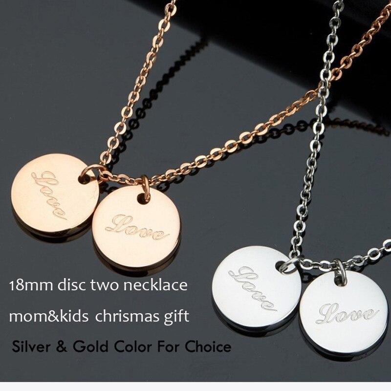 Deux disque gravé nom collier solide argent rond charme plaque signalétique mode maman & enfants bijoux en gros BFF cadeau