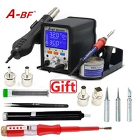 A BF 2 in 1 Rework Station LCD Digital Display New Design Soldering Station Hot Air Gun with tip cleaner wires 4 nozzles SS300D