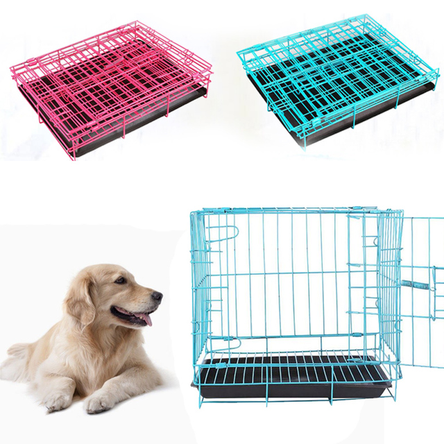 Foldable Dog Pet Cage Iron Wire Suitcase Safe House Home Pink/Blue ...