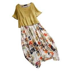 Damska na co dzień w stylu Vintage, lato suknie drukowania Patchwork O-Neck dwa kawałki Plus rozmiar kieszenie Maxi lniana Sukienka Sukienka #7 2