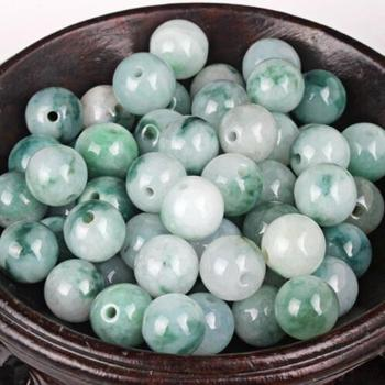 100pcs Chinese Grade A Jade/Jadeite Pendant Pretty Spotted 10mm Round Loose Beads free shipping