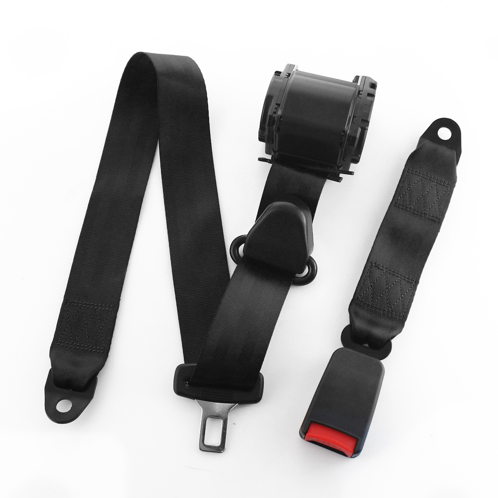 Universal Beige 3 Point Retractable Safety Strap Car Seat Belt Buckle Adjustable