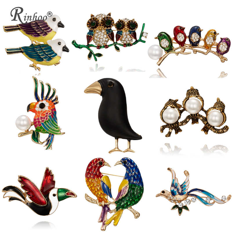 Fashion Handmade Cute Birds Parrot Pin Brooches for Women Enamel Pin Crystal Animal Baby Bird Brooch Pin Christmas Jewelry