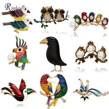 Fashion Handmade Cute Birds Parrot Pin Brooches for Women Enamel Crystal Animal Baby Bird Brooch Christmas Jewelry
