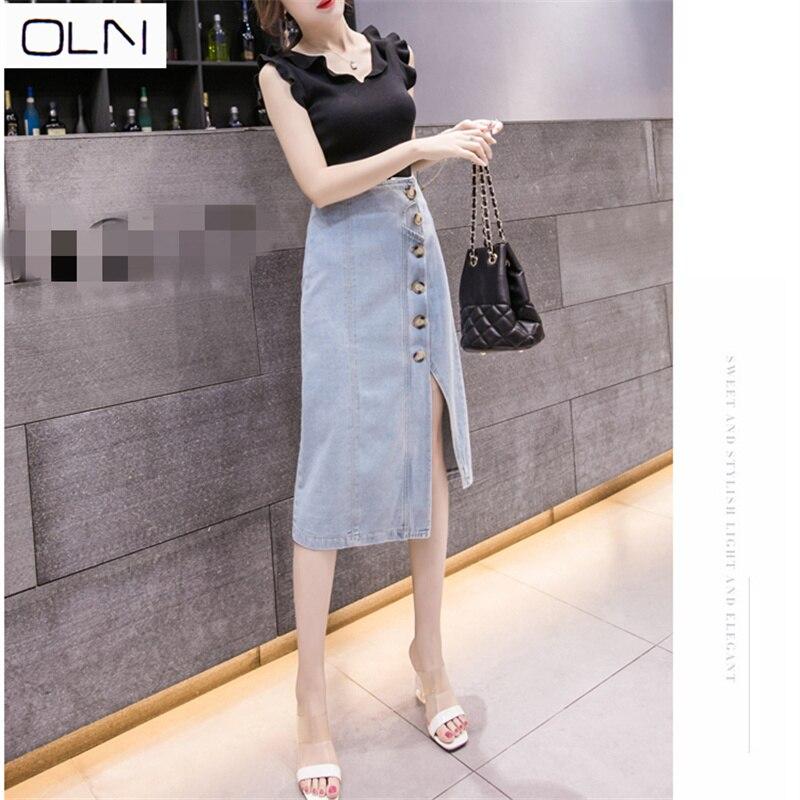Denim skirt Women OLN  new high waist split single-breasted bag hip female Sexy Office Lady OL Elegant Skirt S-2XL