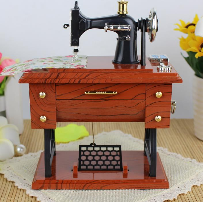 Vintage Music Box Mini Sewing Machine Style Mechanical Birthday Table Decor Gift