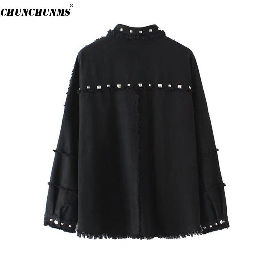 Coats Outwear Frayed Size Down Plus 2018 Female Denim Green Turn Summer C01 Sleeve Women Rivet Loose army Long Jacket Sweetwear Collar Black qSPqTnFZ