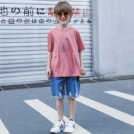 curta camisa calcas de algodao carta listrado