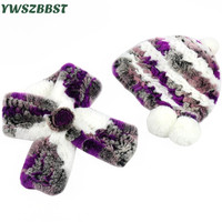 New Fashion Women Hat Rabbit Fur Winter Women Cap with Pom Pom Ball Women Beanies Cap Warm Hat Scarf Collar set