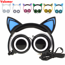 Cute Hot Foldable Flashing Glowing cat ear headphones Gaming Headset Earphone with LED light For PC Laptop Computer Mobile Phone