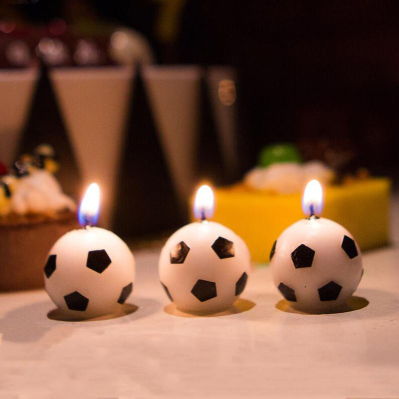 3 Pcs/set Cartoon Cute Football Candle Kids Birthday Cake Cupcake Topper Birthday Party Baby Shower Cake Candles Decorations