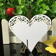 50 шт. сердце любовь лазерная резка столом Марк Имя Место карты бокал бумажная карты свадьбы День рождения душа ребенка партия пользу поставок
