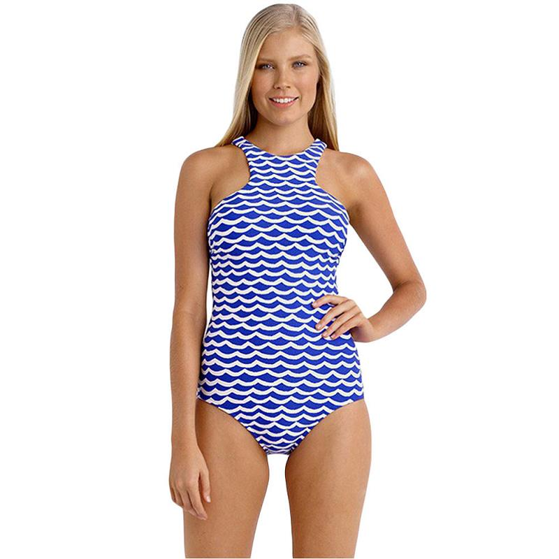 4b0846adc9a Plus Size Hotapei New 2017 One Piece Striped Swimsuit Blue Orange White  Tidal Wave High Neck Bodysuit Modest Swimwear Maillot