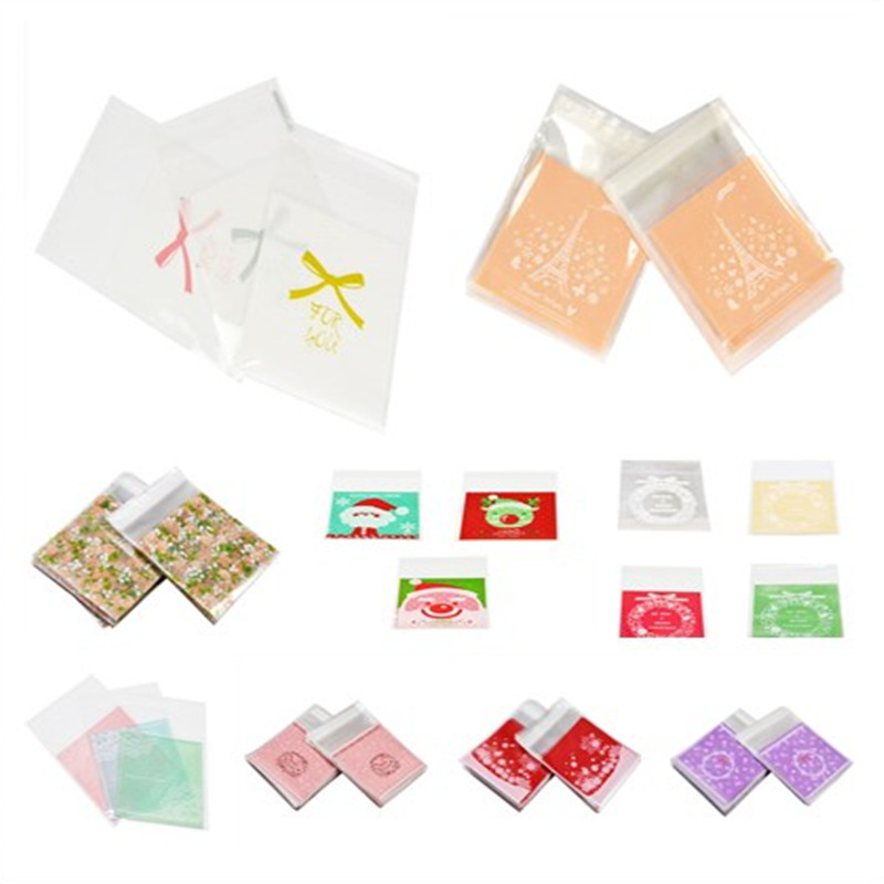 50pcs/100pcs Multicolor Self Adhesive Cellophane Plastic Bags Candy Cookie Gift Bag Packaging OPP Wedding Christmas Party Supply