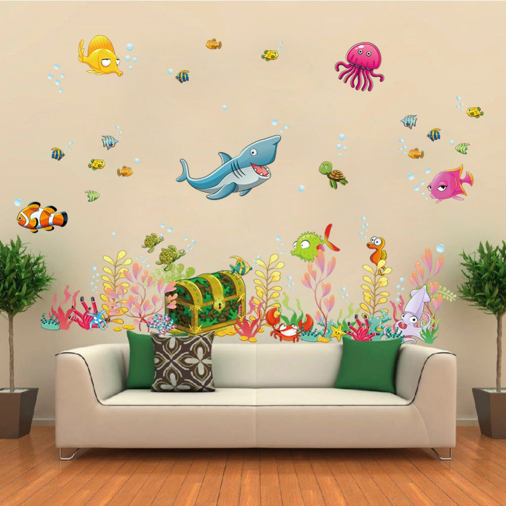 ... In Stock High Class Underwater Wall Stickers Ocean Fish Wallpaper  Bathroom Decoration House Decor Colorful Waterweeds ...