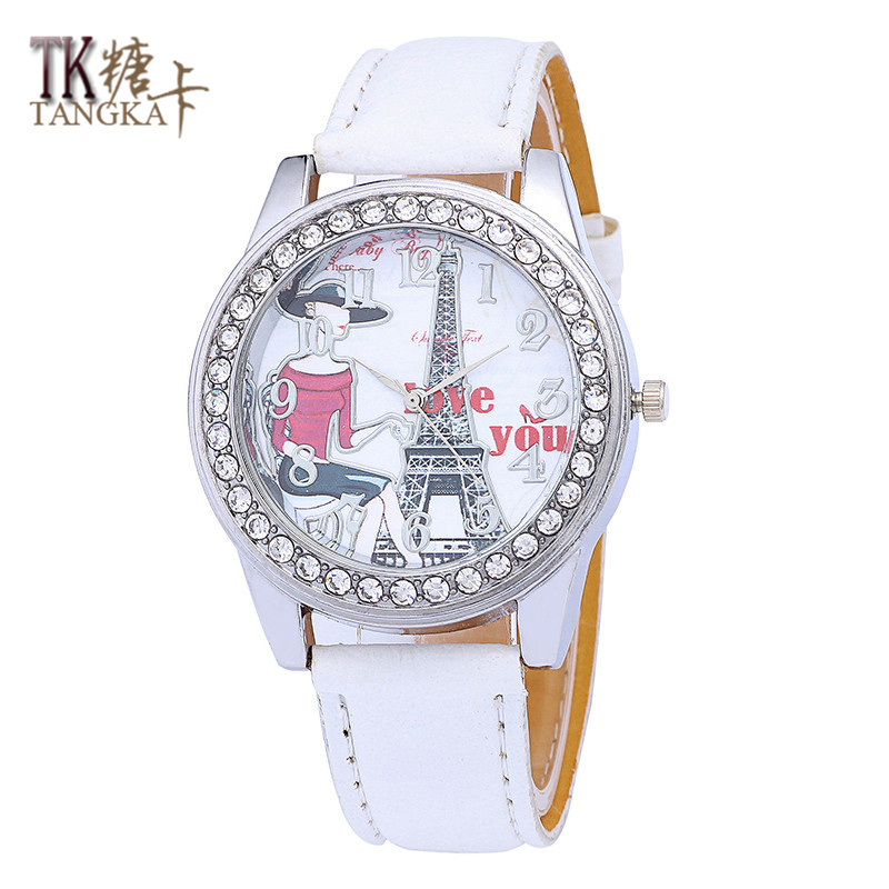 Multicolor optional woman watch Fashion ladies girl tower crystal luxury digital dress quartz watch Casual Analog leather clock free shipping 1000w 36v dc brushless