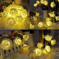 20 LED Rose flor rota lampion batería luces festoon luces poste para la boda romántica de San Valentín decoración de Navidad