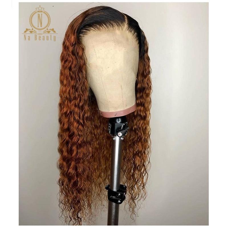 250 Плотность 13x6 Синтетические волосы на кружеве парики из натуральных волос на кружевной 1b 30 Цвет Синтетические волосы на кружеве эффектом деграде (переход от темного к вьющийся парик для Для женщин бесклеевой предварительно черные волосы Remy - 2