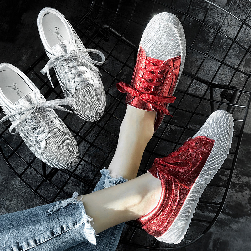 Designer white shoes women's new rhinestone net red women's shoes artifact thick bottom student base increased wild shoes 35-41 3