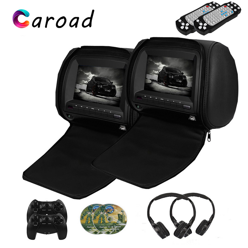 Monitor 7 Inch Wide View TFT LCD Digital Screen Car DVD Player Headrest With IR/FM Transmitter USB SD Speaker Game MP5 Player