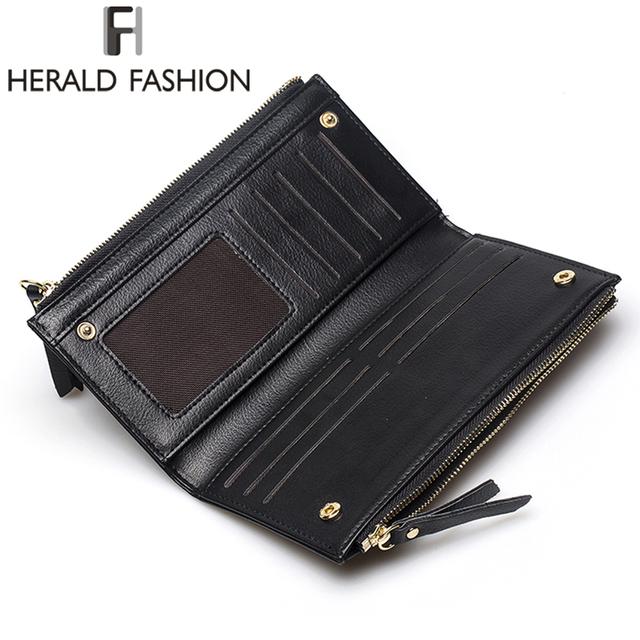 Herald Fashion PU Leather Women Wallet Plaid Long Design Ladies Purses Embossed Wallet Female Clutch Double Zipper Purses