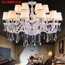 Modern LED White Crystal Chandelier Lights Lamp For Living Room Light Ceiling Fixture Indoor Pendant Lamp Home Decorative