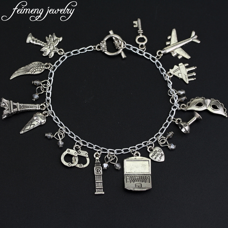 50 Fifty Shades of Grey Handcuffs Hand Catenary Charm Bracelet Vintage Silver Bangle For Women Fashion Jewelry Accessories