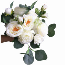 wedding flowers cream color rose peony green eucalyptus bouquet silk bride bridal