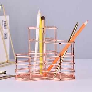 Image 2 - Boîte ajourée à crayons or Rose porte stylo, boîte de rangement pour crayons brosses de maquillage, conteneur organiseur de bureau, papeterie décorative, cadeau de rangement