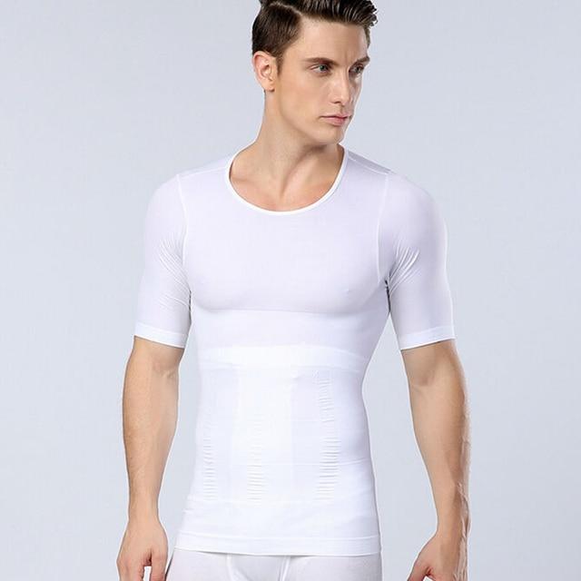 Fashion Summer Mens Slimming Body Shaper Corset Sexy Compression Tights Men Slim Short Sleeve T Shirt Tops